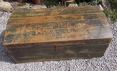 wooden trunk, antique domed top trunk, pine trunk, toy chest