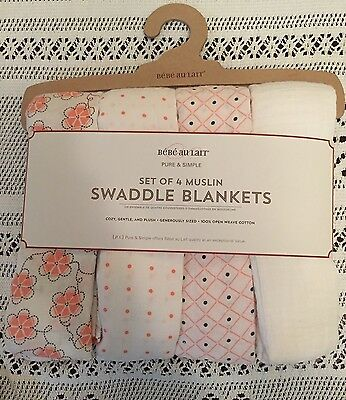 Bebe Au Lait New Set Of 4 Muslin Swaddle Blankets 100% Cotton