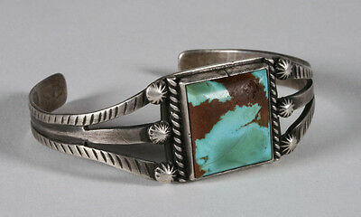 Early Navajo Old Pawn Turquoise & Silver Bracelet / 1930's Native American