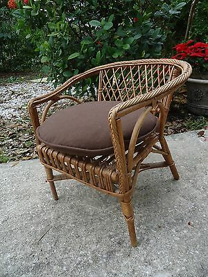 Vintage Rattan & Wicker Childs Chair Doll Chair w/ Cushion