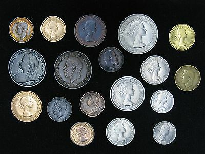 Lot of 18 UK Great Britain Quality Coins 1900-1964 Farthing Half Penny Shilling