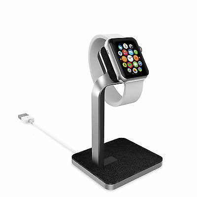 mophie premium charging dock for Apple Watch - aluminum & leather
