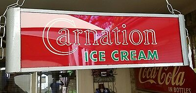 Carnation Ice Cream Reverse Painted Glass Face Light