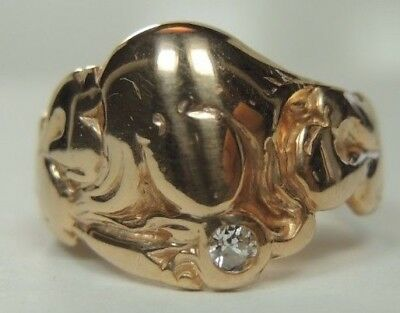 Antique Vintage Art Deco Signet Ring 14K White Gold Ring Size 9.5 Fine Jewelry