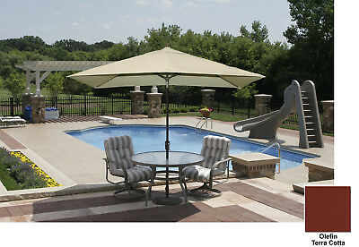 Adriatic 6.5x10' Rectangle Autotilt Market Umbrella - Terra Cotta Olefin