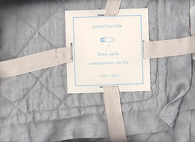 pottery barn kids Belgian Flax Linen Toddler Bedding, quilt.gray,classic,new