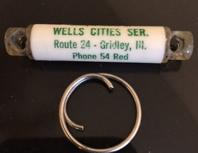 Lot of 2 Gridley, IL Vintage Cities Service Key Chain Wells Cities Service OLD