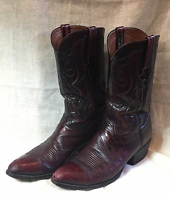 Vintage LUCCHESE Wine Full Quill Ostrich COWBOY BOOTS Men's Size 10 D