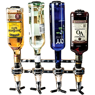 4 Bottle Bar Caddy Liquor Dispenser Shots Drink Pourer Party Alcohol Home