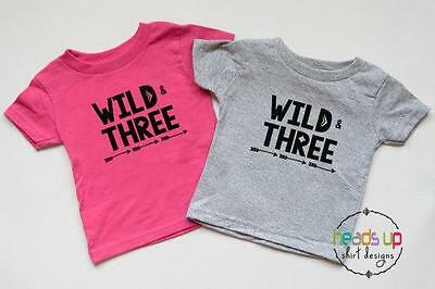 Wild And Three Boy Girl Twins Shirts Third Birthday Tshirts 3rd Bday Tees Trendy