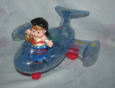 Fisher Price Little People Wonder Woman Figure & Invisible Jet Plane Vehicle