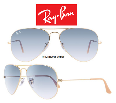 Ray-Ban Sunglasses RB3025 0013F Aviator Gradient Gold/Light Blue 100% Authentic