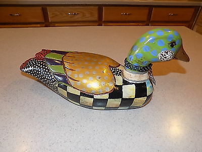 "Vintage Hand Painted Wood Duck  Decoy Figurine Signed Artist JCZ 14""x6.5"" USA"
