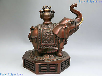 China red bronze sculpture copper Feng Shui Eight Diagrams money Elephant Statue