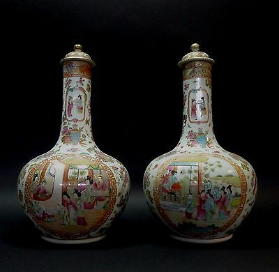 Very Large Pair Chinese Famille Porcelain Vases
