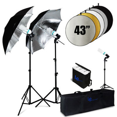 600W 5500K Photo Studio Black/Silver Umbrella Continuous Lighting Kit NEW