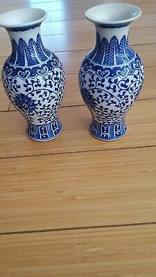 Chinese antique hand painted  blue and white porcelain one pair of vase