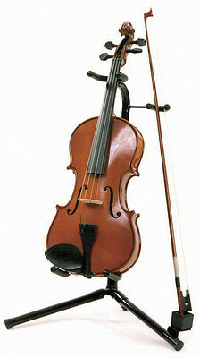 Violin Stand Sturdy Heavy Duty Tubular Style With Bow Support   -New