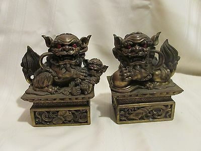 Antique Pair Of Bronze Dragons Chinese Foo Dogs With Red Eyes