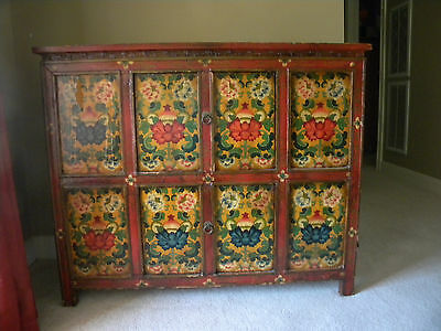 hand painted chest all wood with 2 doors and i shelve inside ,