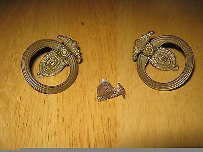 2 Antique Drop Bale English Style Brass Drawer Pull Handles