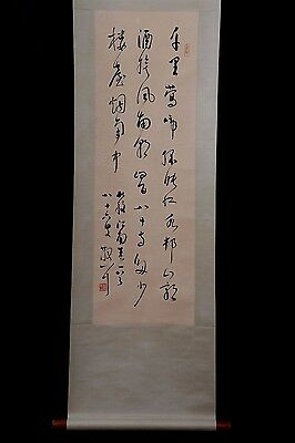 Excellent Chinese Handwriting Calligraphy Old Scroll Painting Marked PP944