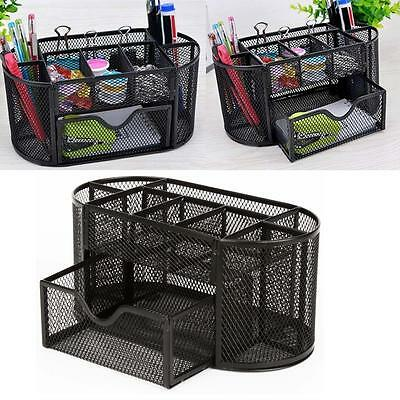 Desk Mesh Organizer Black Office Desktop Holder Metal Pen Storage Pencil Tray US