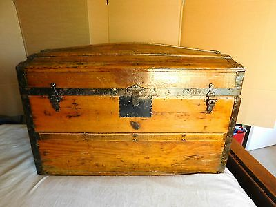 Vtg HUMPBACK TRUNK storage chest steamer train luggage antique metal trim