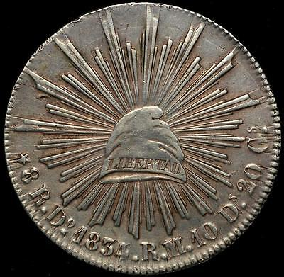 1834/3/2Do RM/RL Mexico Silver Coin 8 Reales, Durango