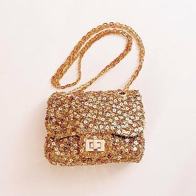 Mae Li Rose Gold Boutique Sparkly Little Girl's Purse Clutch Chain Straps NWT