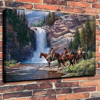 """Home Decor  Art Canvas Print, Oil Painting Have Mountain Waterfall 16""""x20"""""""