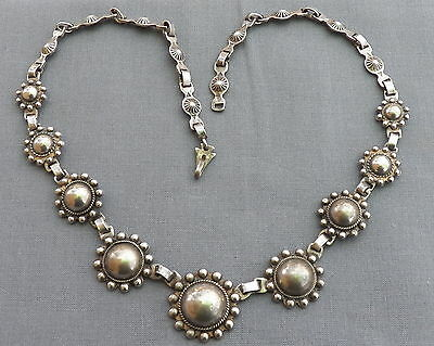 Vintage Silver Fred Harvey Era Satelite or Beaded Domes Necklace