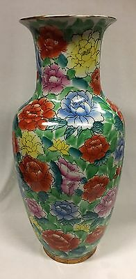 Vintage Chinese Republic Period Enamelled Floral Decorated Ceramic Vase