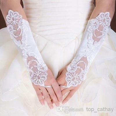 Free Shipping White Ivory Lace Bridal Gloves Fingerless Wedding Gloves Elbow