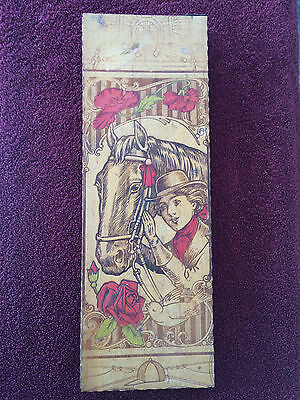 Vintage Wood Box with Hinged Lid Horse Head and Girl Engraving