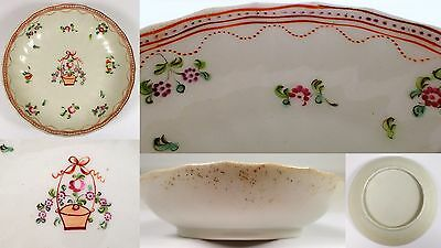 """5 3/8"""" Antique Hand Painted Basket of Flowers Iron Red Dot Porcelain Dish Bowl"""