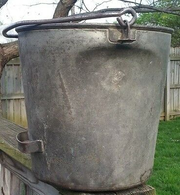 Vintage Dairy Farm Heavy Steel Milk Pail Bucket W/ Tipping Handle