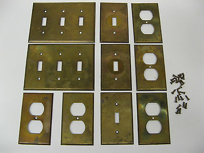LOT of  10 Vintage Solid Brass Switch and Outlet Covers with Screws
