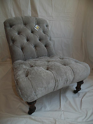 Antique Slipper Chair. New traditional re-upholstery. Victorian Period.