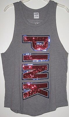 4150b0ca933d8 NWT VICTORIA'S SECRET Pink Usa Sequin Bling Star Americana Patriotic Tank  Top