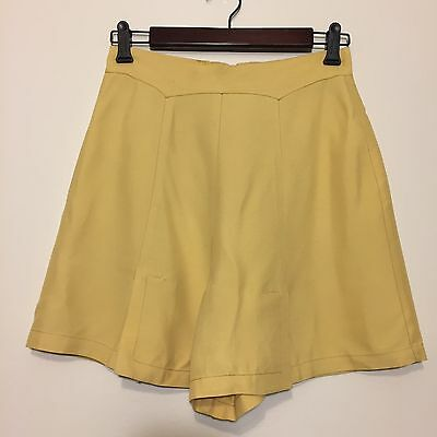 Vtg 40s Jantzen Sun Clothes Yellow High Waist Rayon Shorts W27 Pin Up Rockabilly