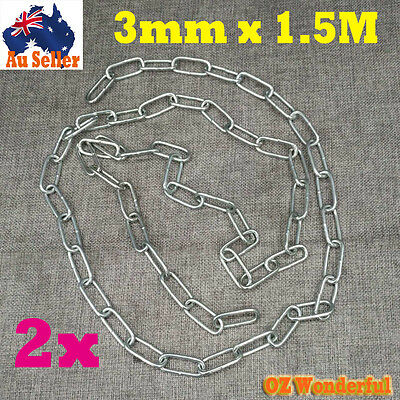 Galvanised Chain 3mm 3M(2x1.5M) Iron Chain Linked Chain Anchor Welded Hot Dipped