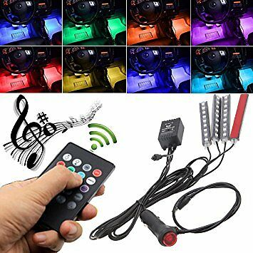 4X 12V 9 LED Remote Control RGB Car Interior Strip Lights Wireless Music Control