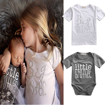 Matching Cotton Clothes Big Sister T-shirt Little Brother Romper Outfits Set Uk