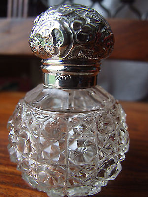 Antique Hallmarked Silver Toped, Hobnail Glass Scent Bottle