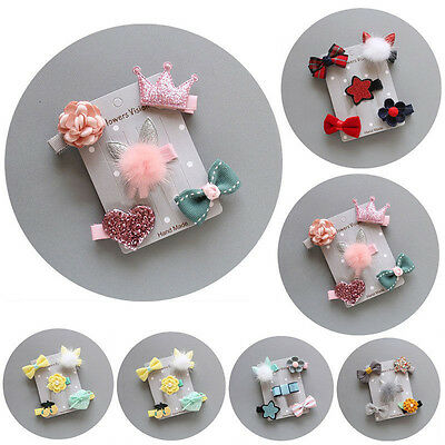 5Pcs/set Hairpin Baby Girl Hair Clip Bow Flower Mini Barrettes Cute Kids Infant