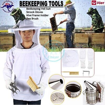 5 in 1 Beekeeping Tools Veil Suit+ Gloves + Hive Frame + Brush + Smoker AU STOCK