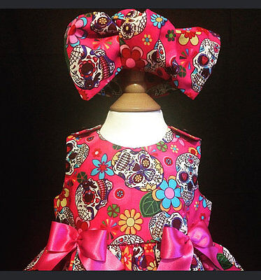 SKELETOTS baby/girl pink sugar skulls bow headband goth rock punk