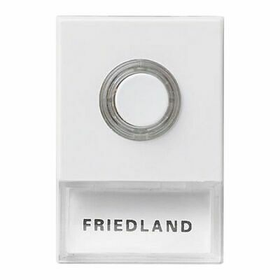Lit Door Bell Push with Name Space - White Friedland D723W Pushlite Illuminated