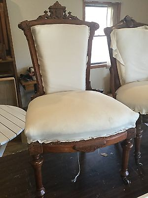 Pair Of Solid Walnut Carved John Jelliff Parlor Chair / Side Chair  Victorian